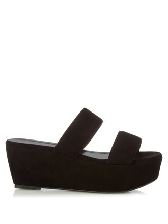sandals flatform sandals suede black shoes