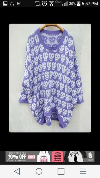 sweater purple purple sweater skull sweater pastel goth pastel purple purple skulls