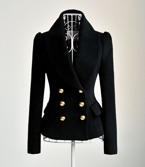 Amazing wool black double row new arrival blazer: tidestore.com
