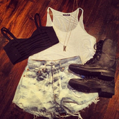 shirt,black,bra,tank top,white,blue,jeans,combat,boots,gold chain,gold,chain,straps,shorts,cute,underwear,shoes