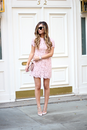 for all things lovely blogger dress bag shoes jewels make-up valentino rockstud nude sandals sandals sandal heels high heel sandals studded sandals lace dress scalloped scalloped dress pink dress short sleeve dress blue sunglasses date outfit party dress party outfits date dress pink bag summer dress summer outfits