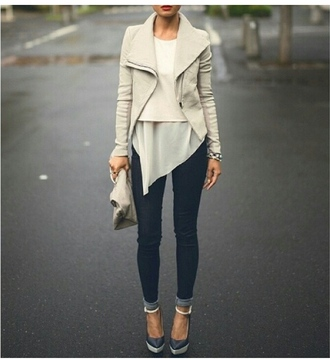 shoes jacket t-shirt girl bag jeans blouse nice top outfit bottom white jacket winter outfits white short dress denim high heels classy