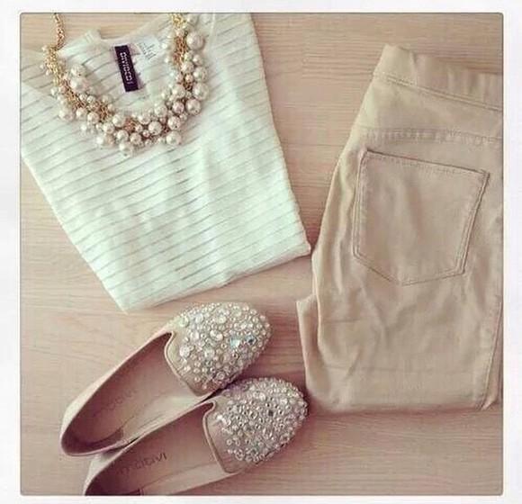 pearl jeans cream stylish formal semi-formal