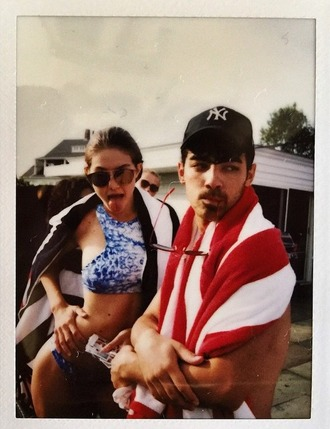 swimwear gigi hadid model fashion bikini july 4th blue american flag joe jonas