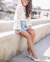 skirt,tumblr,leather skirt,mini skirt,wrap skirt,flats,nude shoes,shoes,blouse,white blouse,white lace top,lace top,bell sleeves,spring outfits