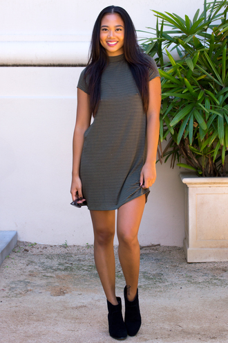 dress cute cute dress t-shirt dress fall outfits fall dress musthave style fashion fashion vibe ootd outfit booties sunglasses mock neck dress striped dress olive dress olive green