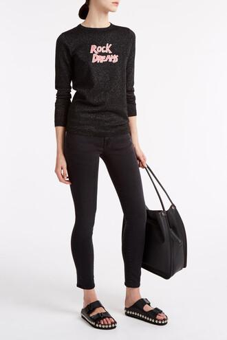 jumper rock metallic black sweater