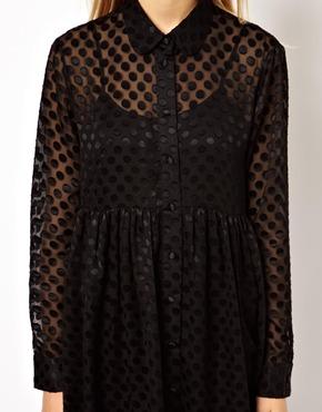 ASOS | ASOS Shirt Dress With Burnout Spot at ASOS
