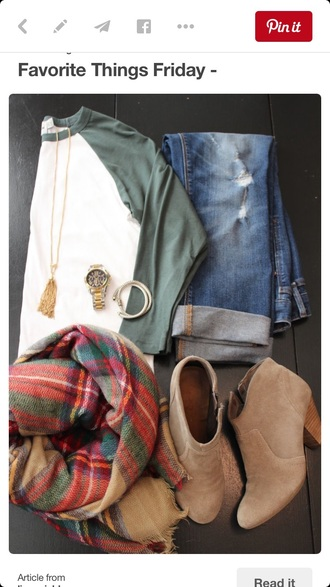 scarf plaid fall outfits back to school shirt baseball tee green white fall style jeans boyfriend jeans blue jeans ripped jeans blue jeans with rips cuffed jeans