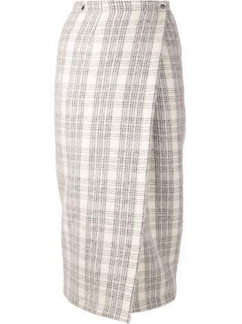 Yigal azrouel plaid wrap skirt platinum