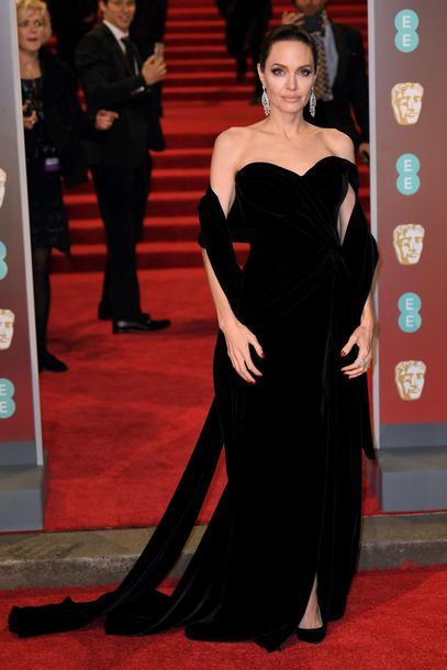 b9cb5023735b dress velvet velvet dress black dress long dress strapless bafta red carpet  dress angelina jolie