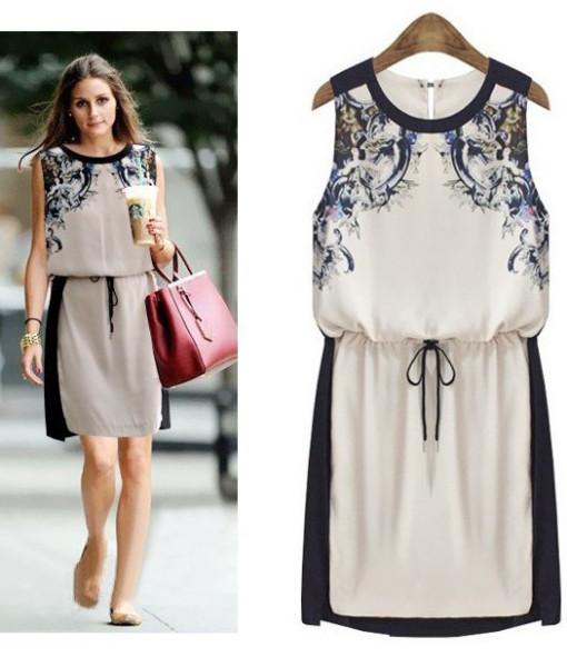 5580 2014 New Summer Women's clothing High quality Fashion Casual dress Woman Chiffon Pinched Waist Women dress Printed | Amazing Shoes UK