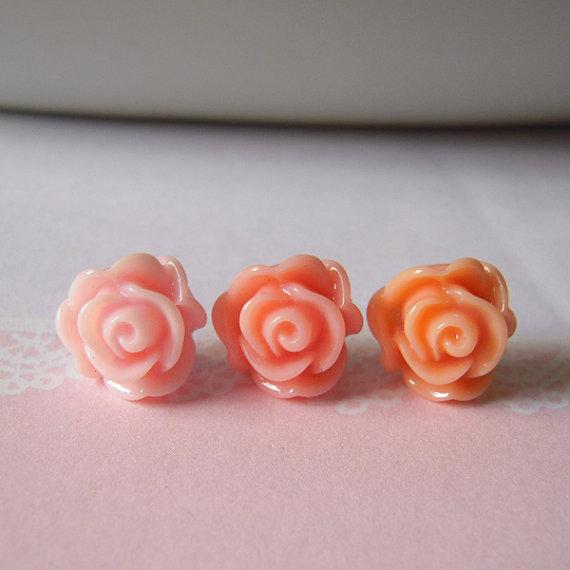 Rose stud earrings flower post earrings cabbage by littlepinkbox