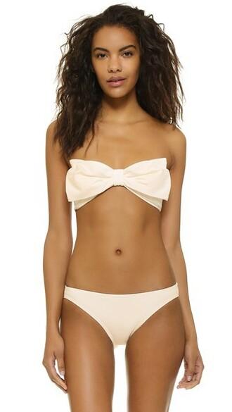 bikini bikini top bandeau bikini bow beach cream swimwear