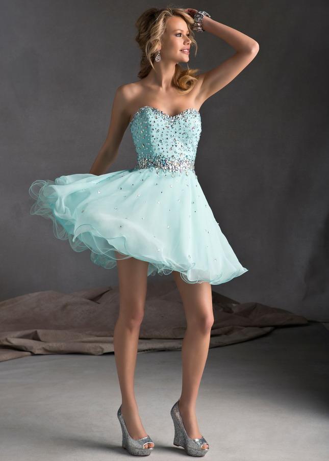 Mint Strapless Sequin Top A-line Short Homecoming Dress [Short Homecoming Dress] - $140.00 : Cheap Prom Dresses 2014,Cheap Dresses For Prom 2014,Formal Prom Dresses On Sale