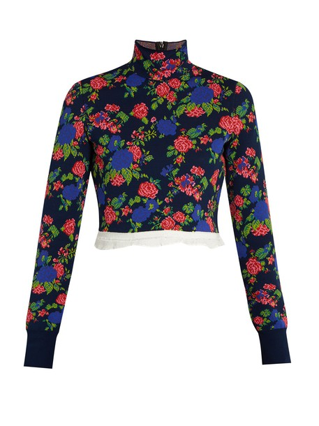 MSGM top cropped high floral knit navy