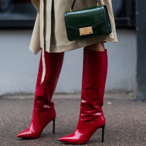 Red Pointy Toe Patent Leather Fashion Boots Stilettos Knee High Boots