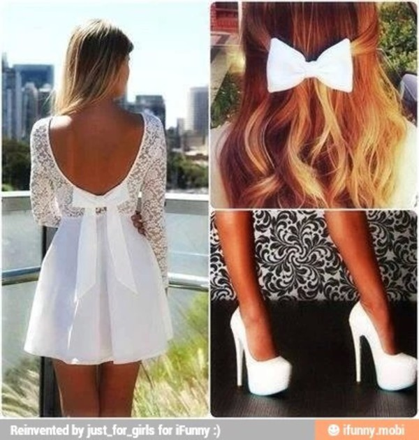 white dress bow dress dress
