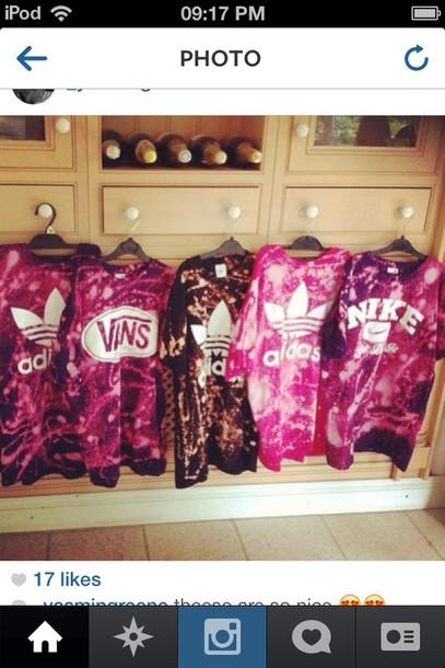 t-shirt pink tie dye adidas nike adidas originals