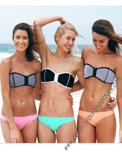 Neoprene bandeau zip bikini
