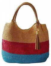 bag,raffia bag,raffia,tassel,tote bag,blue,red,beach bag