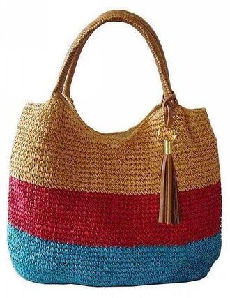 bag raffia bag raffia tassel tote bag blue red beach bag