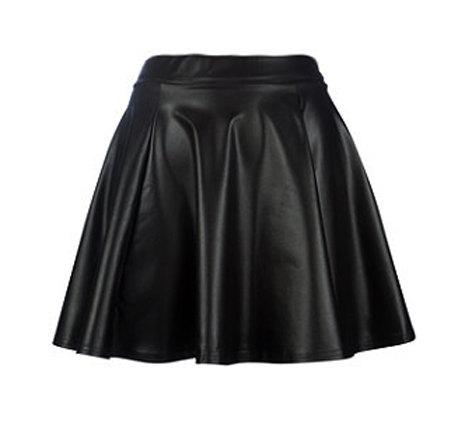 Kylie leather skater mini skirt