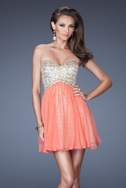 dress, peach, coral, sequins, prom, homecoming, prom dress, short ...