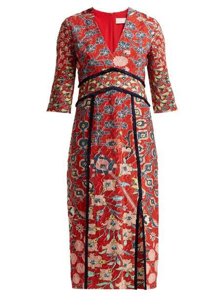 PETER PILOTTO Floral-printed jacquard midi dress in red / multi