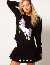 sweater,winter sweater,unicorn,rainbow,black,knit,knitwear,knitted sweater,jumper,cute,cute sweaters