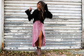 madame rosa,blogger,sweater,skirt,socks,shoes,pink skirt,bell sleeve sweater,wrap skirt,high heel sandals,sandals