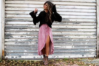 madame rosa blogger sweater skirt socks shoes pink skirt bell sleeve sweater wrap skirt high heel sandals sandals