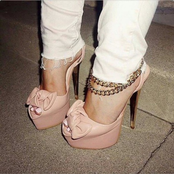 Shoes: pink nude, high heels, sexy pumps, peep toe pumps, platform ...