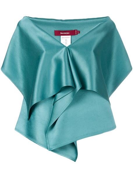 SIES MARJAN blouse women draped silk wool green top