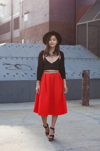 jess loves fred blogger top cardigan belt red midi skirt fedora wedge sandals
