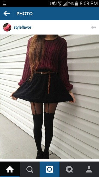 shirt burgundy maroon/burgundy cute cozy sweater sweater pretty beautiful fall outfits fall sweater leggings black tumblr tumblr outfit cold