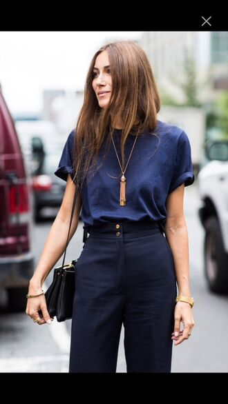 t-shirt jewels pants all navy blue outfit all blue outfit blue top top blue pants necklace bag black bag office outfits