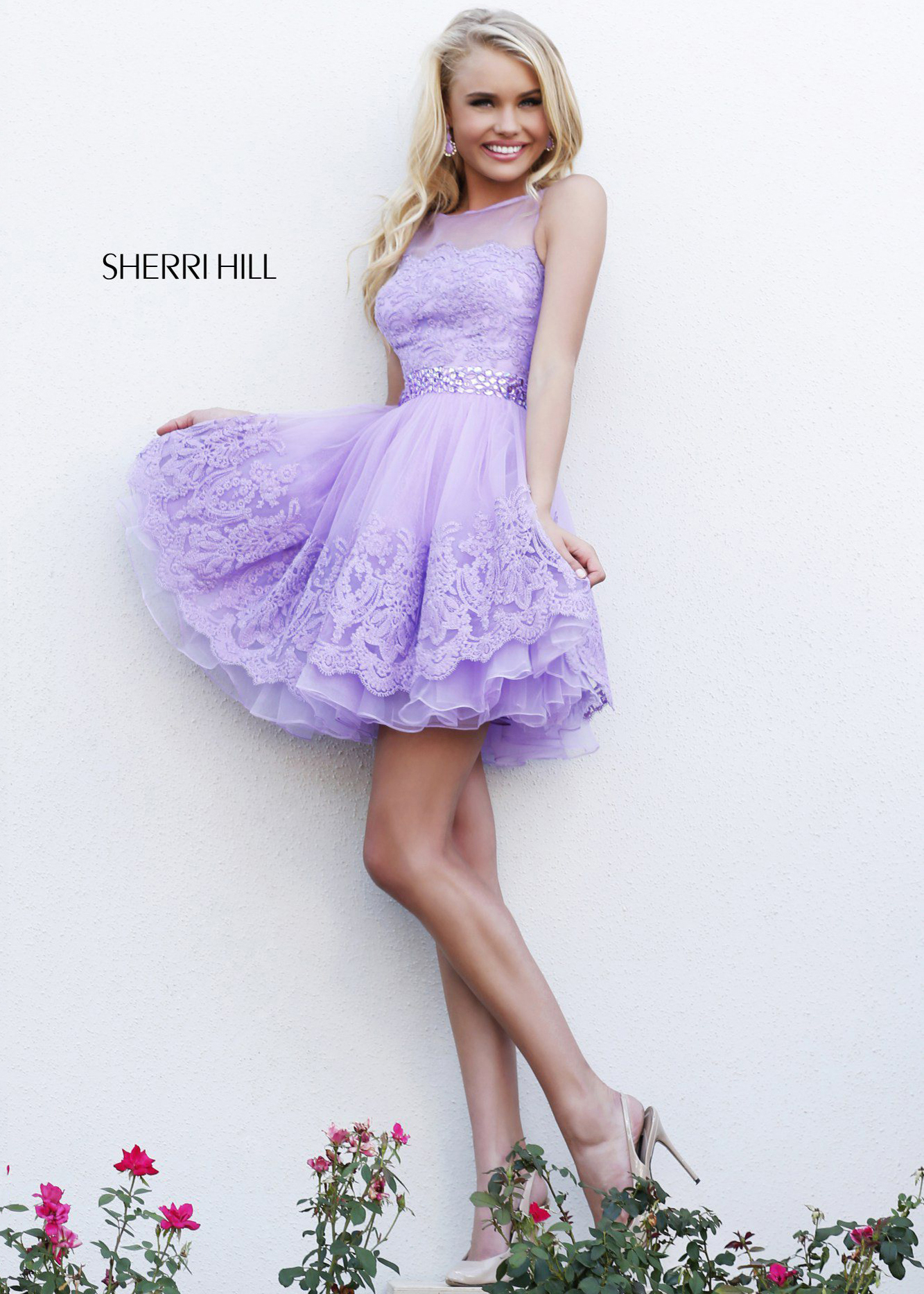 Lilac sherri hill 11091 lace short cocktail dress [lilac sherri hill 11091]