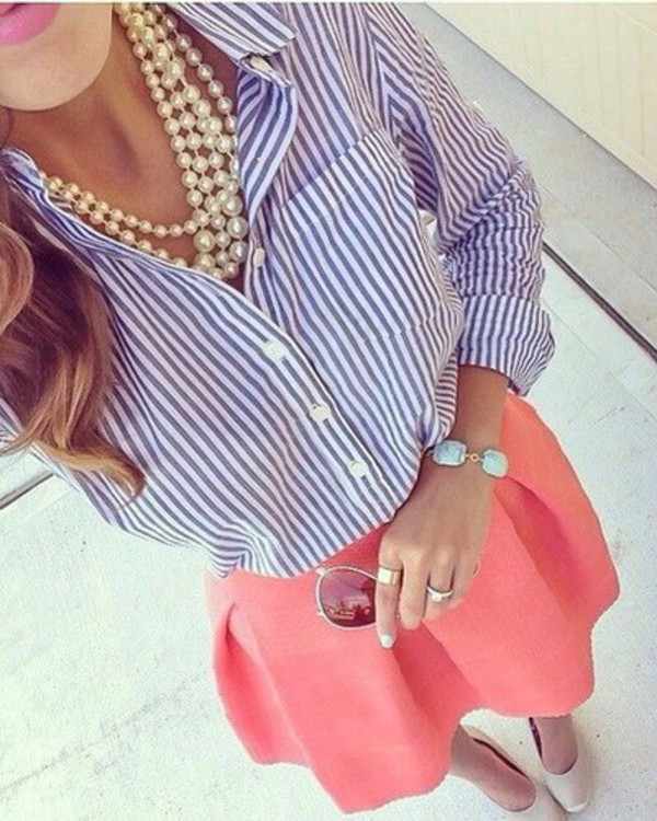skirt elegant feminine classy coral skater skirt pearl stripes jewels blouse accessories girly