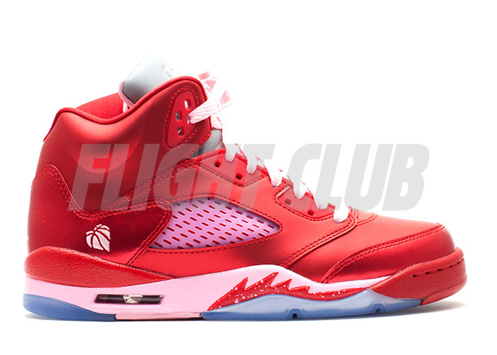 "girls air jordan 5 retro gs ""valentines day"" - gym red/ion pink  