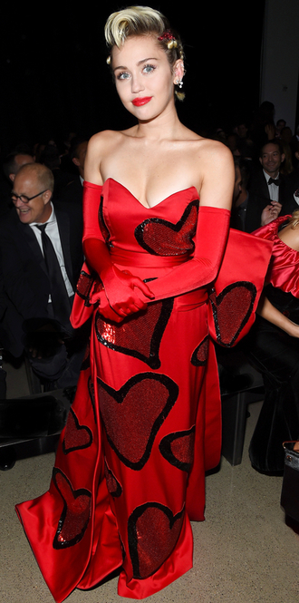 dress gown strapless bustier prom dress red dress heart miley cyrus