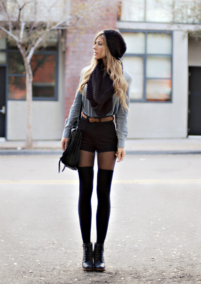 American Apparel Thigh High Socks, Urban Outfitters Boots, H&M Hat, H&M Scarf, American Apparel Denim Button Up, Vintage Belt, American Apparel High Waist Shorts, Proenza Schouler Ps1 Bag - Denim & Black - Jennifer Grace | LOOKBOOK