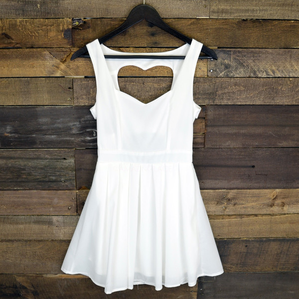 dress white dress skater dress heart cut out cut out back