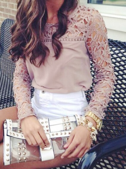 Pearl pink hollow lace crochet spliced long sleeve round neck chiffon top