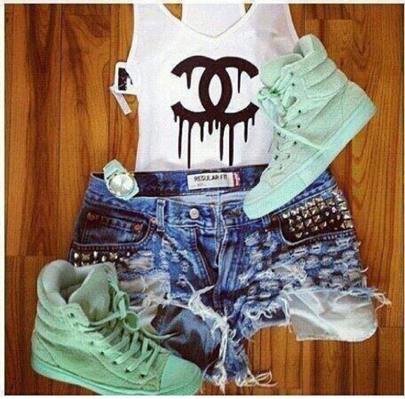 tank top chanel t-shirt green black and white destroyed denim shorts sneakers chanel shorts shirt sweet cool jewels shoes skirt