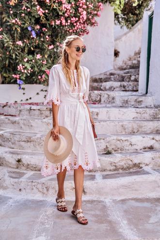 dress hat tumblr midi dress white dress sandals flat sandals sun hat sunglasses bag shoes