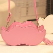 bag,moustache,pink,shoulder bag,cute,handbag