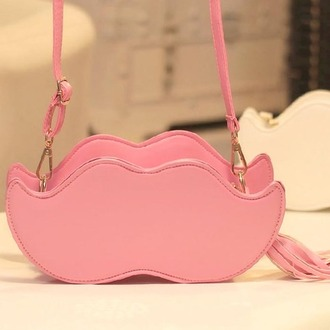 bag moustache pink shoulder bag cute handbag