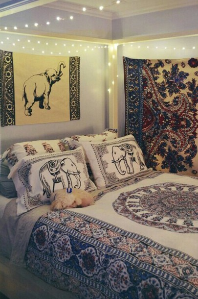 home accessory boho bedroom bedding pillow sheets elephant print wheretoget. Black Bedroom Furniture Sets. Home Design Ideas