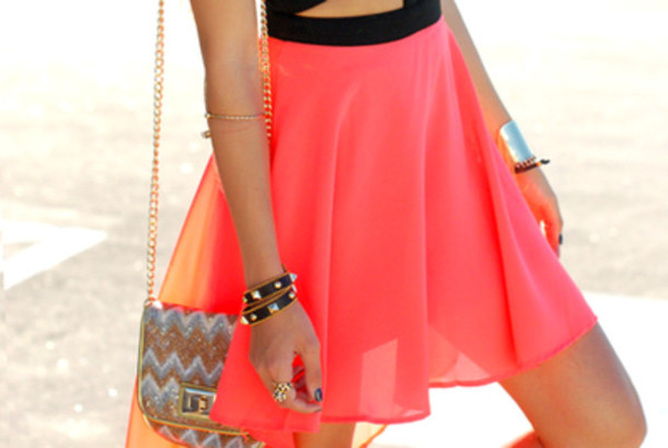 skirt coral skirt skater skirt chiffon chiffon skirt